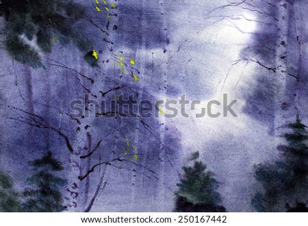 autumn landscape with birches and twilight - stock photo