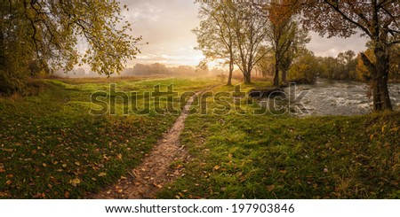 Autumn landscape with colorful foliage - stock photo
