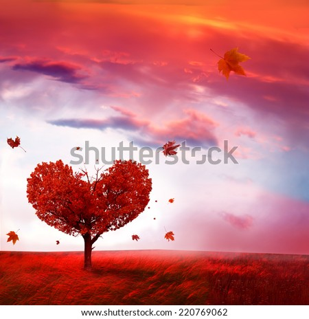 Autumn landscape with heart shape tree  - stock photo