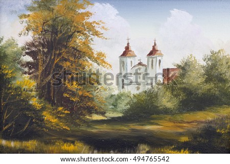 Autumn landscape with old Polish Catholic church oil handmade painting