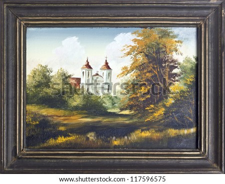 painting picture frames. Autumn landscape with old village Catholic church oil painting in  wooden frame Landscape Old Village Church Stock Illustration