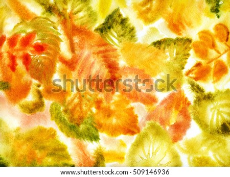 Autumn leaves abstract background, hand drawn watercolor painting
