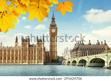 autumn leaves and Big Ben, London - stock photo