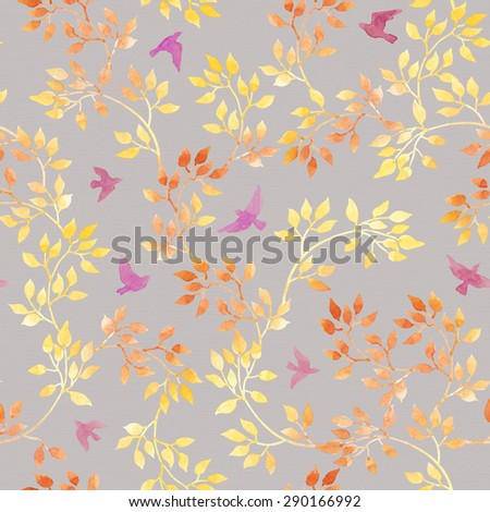 Autumn leaves and cute birds. Water color autumn seamless pattern in naive design - stock photo