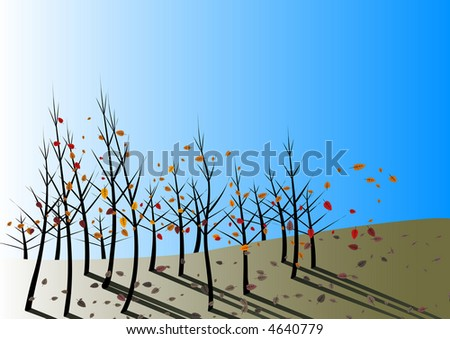 Autumn leaves fall and are stirred by the wind on a clear blue day - stock photo