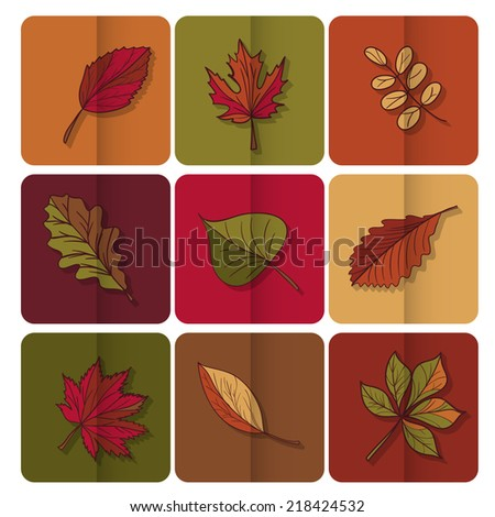 Autumn leaves icon. Red, yellow and green leaves of forest trees. Are used as buttons for web design - stock photo