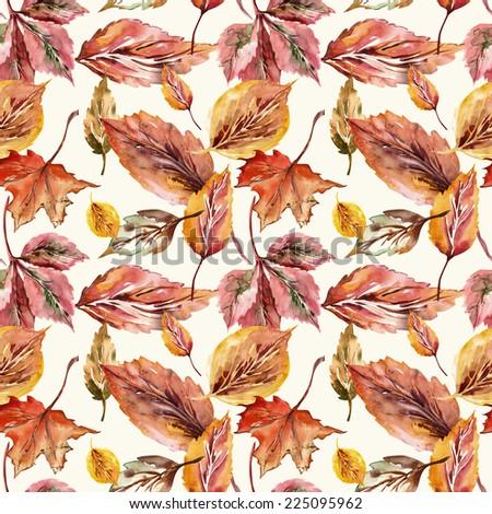 Autumn Leaves Seamless Pattern - stock photo