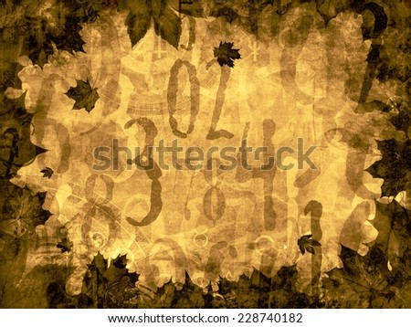 autumn leaves time numbers vintage background texture - stock photo