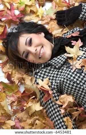 Autumn Leaves Woman - stock photo