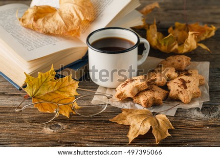 Autumn lifestyle - hot chocolate, chocolate chip cookies, old book, warm blanket, rustic wood background,