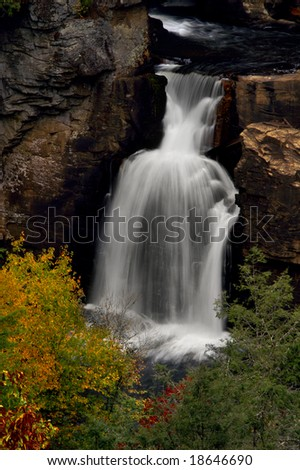 Autumn Linville Lower Falls, North Carolina Vertical - stock photo