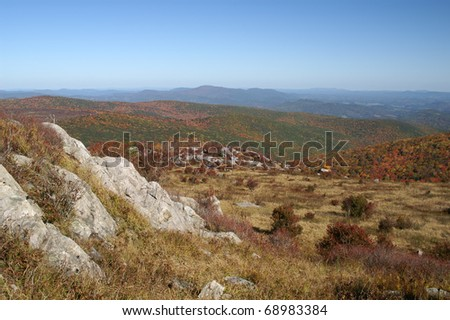 Autumn Long Range View from Grayson Highlands State Park, Virginia Horizontal With Copy Space - stock photo