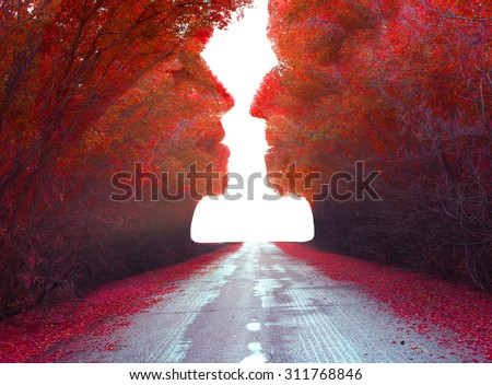 Autumn magic landscape .Trees in the shape of a human heads  - stock photo