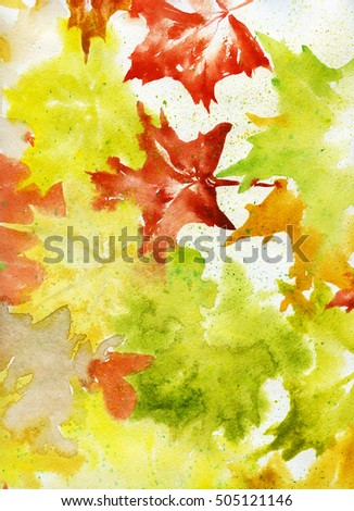 Autumn maple leaves abstract background, hand drawn watercolor painting, 1200 dpi
