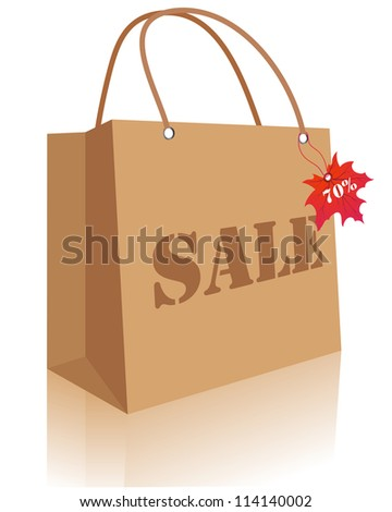 Autumn maples leaves sale bag with lablel. - stock photo