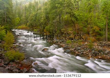 Autumn, Misty  Flowing River  - stock photo