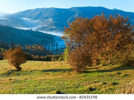 Autumn misty morning mountain hill (Carpathian Mt's, Ukraine). - stock photo