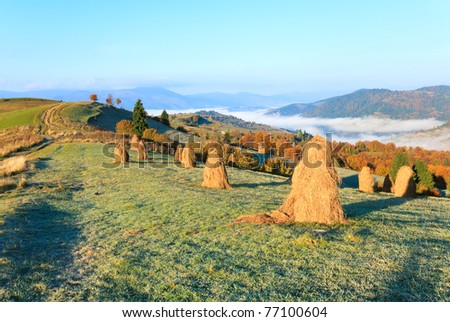 Autumn misty morning plateau with stack of hay and country dirty road (Mighgirya village outskirts, Carpathian Mt's, Ukraine).