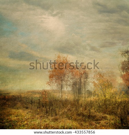 autumn morning on field - picture in retro style - stock photo