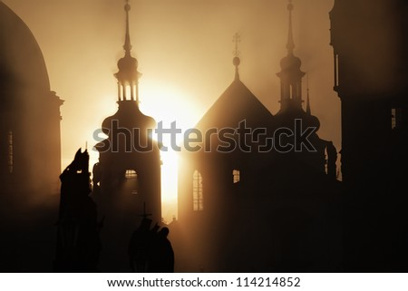 Autumn morning - Prague, Czech Republic - stock photo