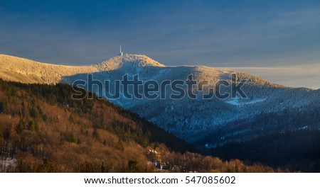 Autumn mountain landscape view of Lysa hora highest peak of Beskydy
