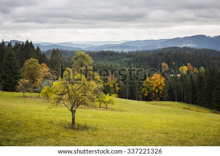 Autumn mountain landscape with overcast sky - Moravian-Silesian Beskydy - stock photo
