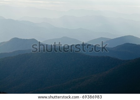 Autumn, Mountain Range, Blue Ridge Parkway, NC - stock photo