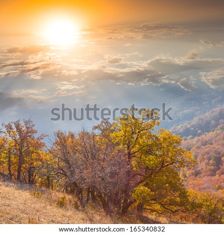 autumn mountain valley at the early morning - stock photo