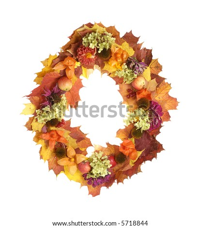 autumn multicolor garland with leaves,flowers, fruits isolated on white