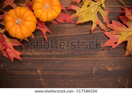 Autumn oak leaves and mini pumpkins on a wooden background forming a border