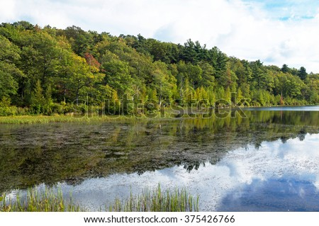 Autumn on Lake Marcia at High Point State Park in New Jersey - stock photo