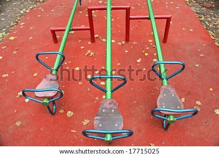 Autumn on playground - stock photo