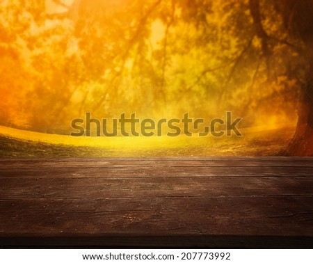Autumn or summer abstract nature background with afternoon meadow. Summer or autumn sunset. Table with landscape - stock photo
