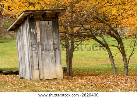Autumn Outhouse - stock photo