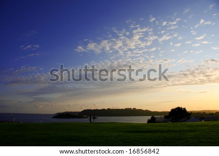 autumn, panorama of Plymouth area, UK - stock photo