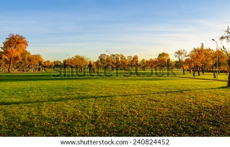 Autumn park in Riga, Latvia - stock photo
