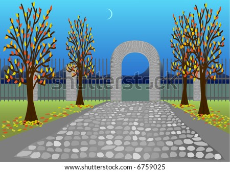 Autumn park with stone alley and arc. Vector version - in my portfolio - stock photo