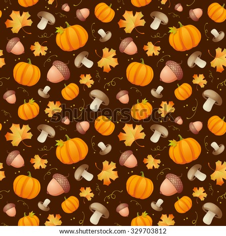 Autumn pattern with leaves, acorns and pumpkins, rasterized version. - stock photo
