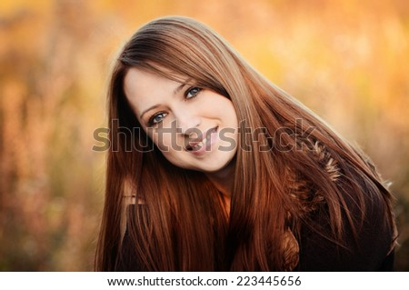 Autumn portrait of beautiful caucaisan girl - stock photo