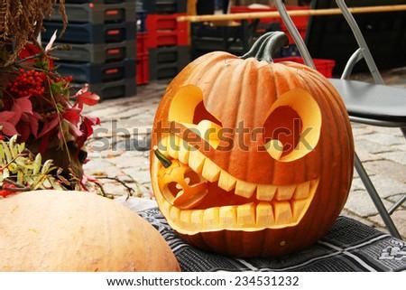 Autumn pumpkin. Halloween decoration - stock photo