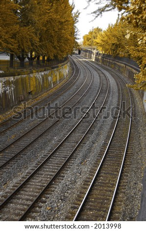 Autumn Railroad Scene (Vertical) - stock photo