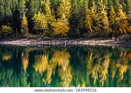 Autumn reflection in Wedge Pond, Kananaskis Country, Alberta, Canada