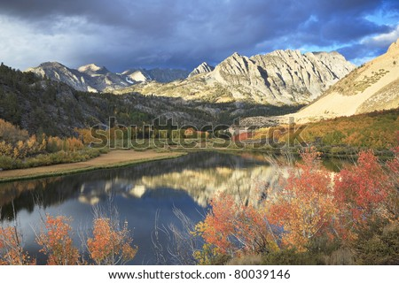 Autumn reflections at North Lake in Sierra Nevada mountains, California - stock photo