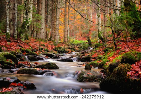 Autumn river in the mountains - stock photo