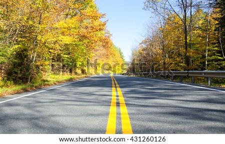 Autumn road in Vermont, USA - stock photo