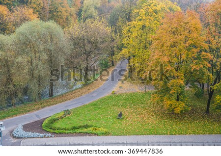 Autumn scene in Vilnius park as seen early in the morning from Gediminas Hill, Vilnius, Lithuania