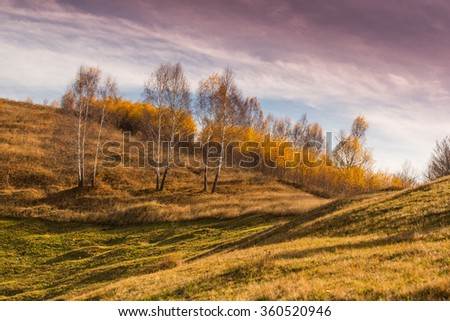 Autumn scenery in remote rural area in Transylvania