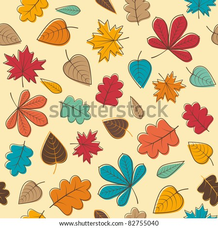 Autumn seamless pattern with colorful leafs. Raster version. - stock photo