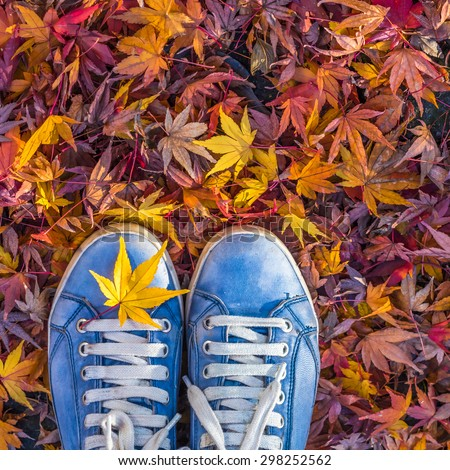 Autumn season in hipster style shoes - stock photo