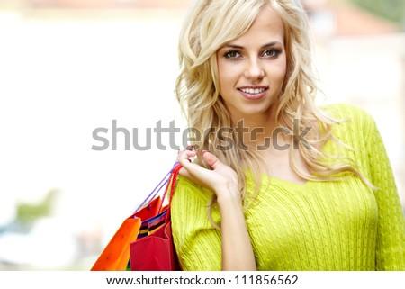 Autumn shopping woman - stock photo